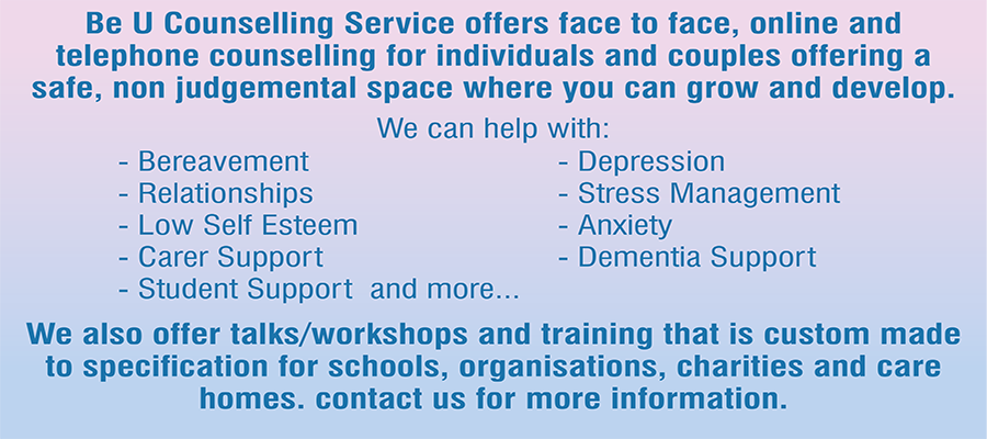 Be U Counselling, Therapy, Counselling, Poole, Dorset, Workshops, Bournemouth, Stress, Grief, Loss, Relationships, Low self esteem, carer support, Student support, depression, anxiety, dementia support